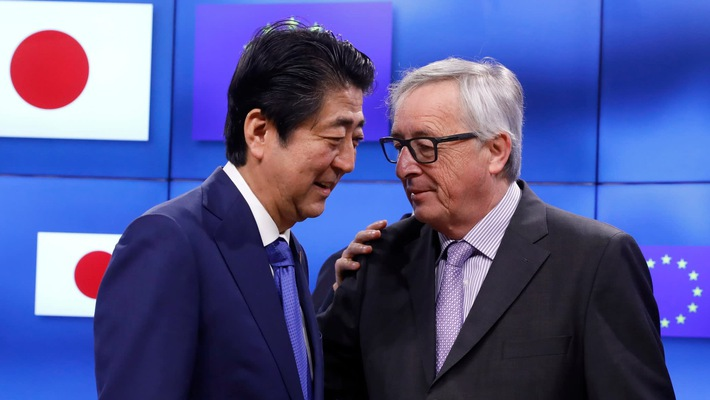 EU and Japan signed a free trade agreement covering a third of the world's economy on July 17, 2018