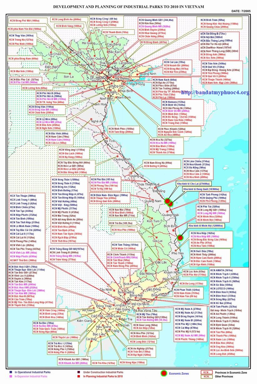 Map of industrial parks in Vietnam