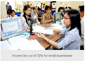 Income tax cut of 30% for small businesses
